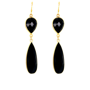 Black Onyx Regal Double Earring Drops, Gold