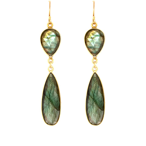 Labradorite Regal Double Earring Drops, Gold