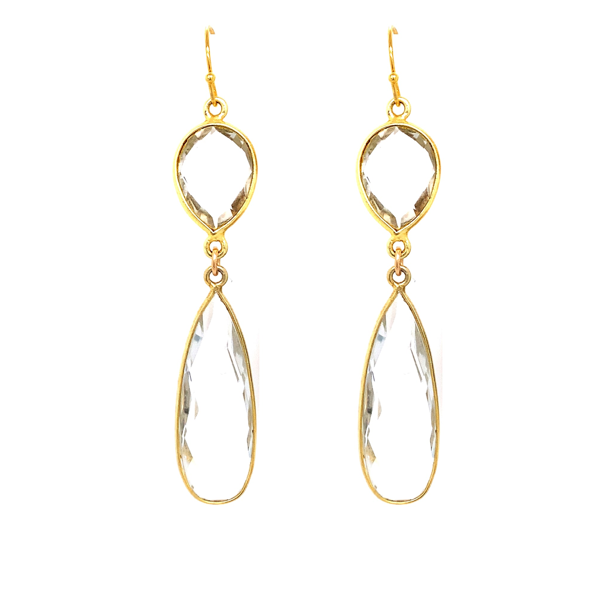 Crystal Quartz Regal Double Earring Drops, Gold