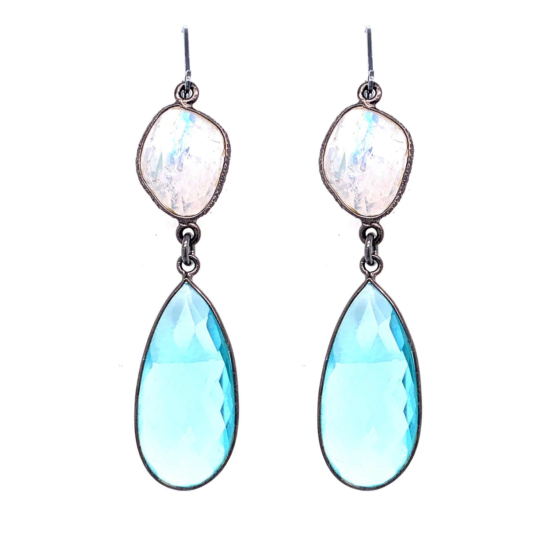 Rainbow Moonstone with Blue Quartz Drop Earrings, Oxidized