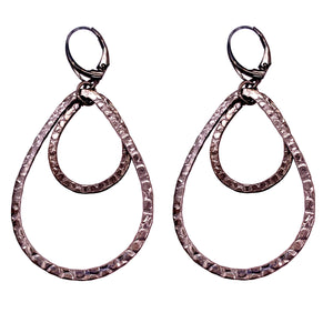 Reptile Print Double Teardrop Hoops - Black Silver