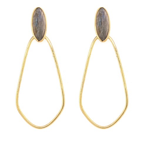 Labradorite Downtown Hoops - Gold