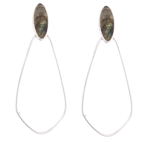 "AAA Semi Precious StoneSimple take on an old Favorite.  The Hoop      Beautiful Labradorite top Stone     Sterling Silver Bezel Casing     Post Backing     Approx 2.75"" Drop"