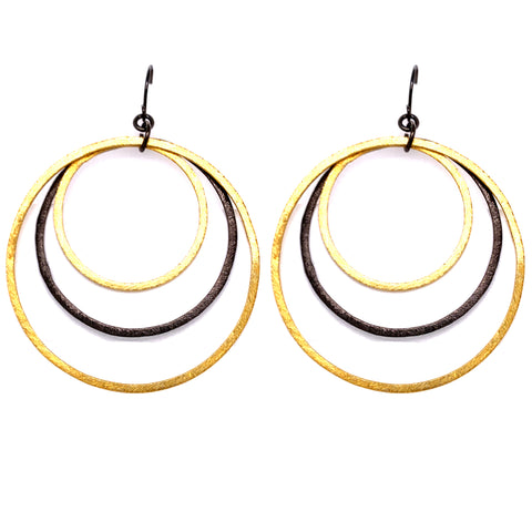 Black & Gold Mixed Metal Jumbo Hoops