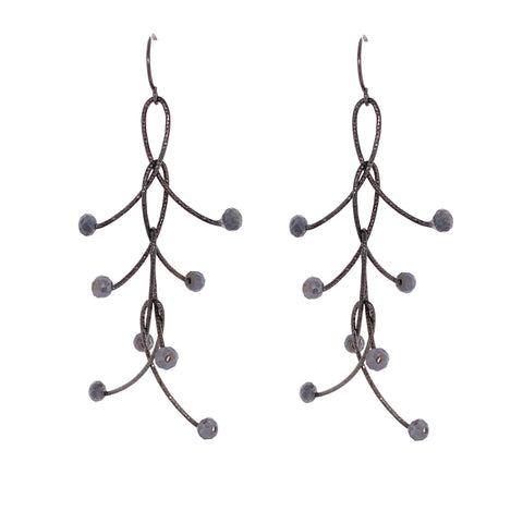 "Sexy Grey Mystic Quatre ""Orbits"" Earrings Oxidized"