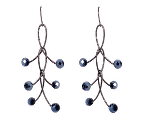 "Black Mystic Triple ""Orbits"" Earrings Oxidized"