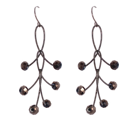 "Edgy Brown Mystic Triple ""Orbits"" Earrings Oxidized"