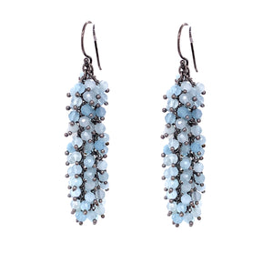 "Aquamarine Gemstone ""Shimmer"" Earring, Oxidized  google pinterest facebook jewelry"
