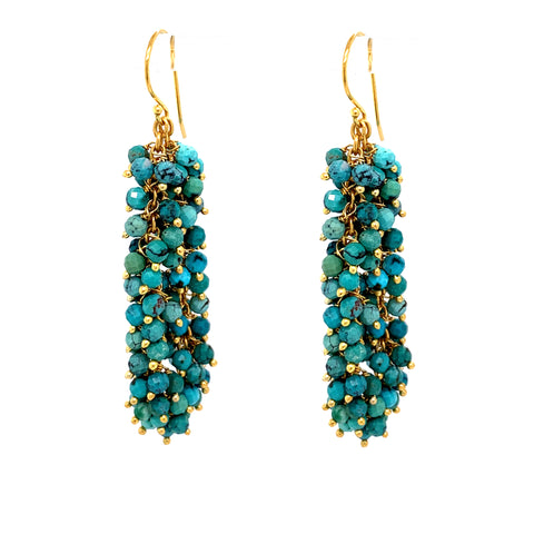 "Turquoise Gemstone ""Shimmer"" Earring, Gold OXI google pinterest youtube facebook instagram"