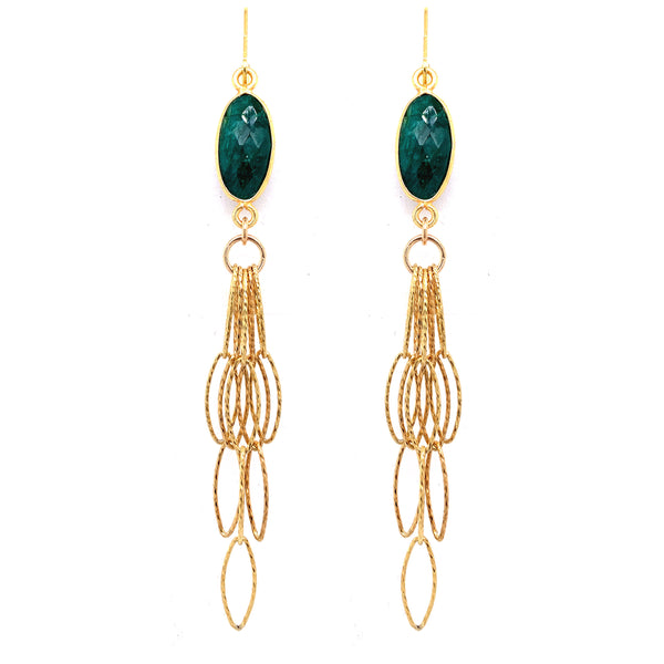 Beautiful Semi-Precious Gemstone Top Sapphire Corundum Long Tassel Bottom Earrings, Gold silver google youtube facebook emerald
