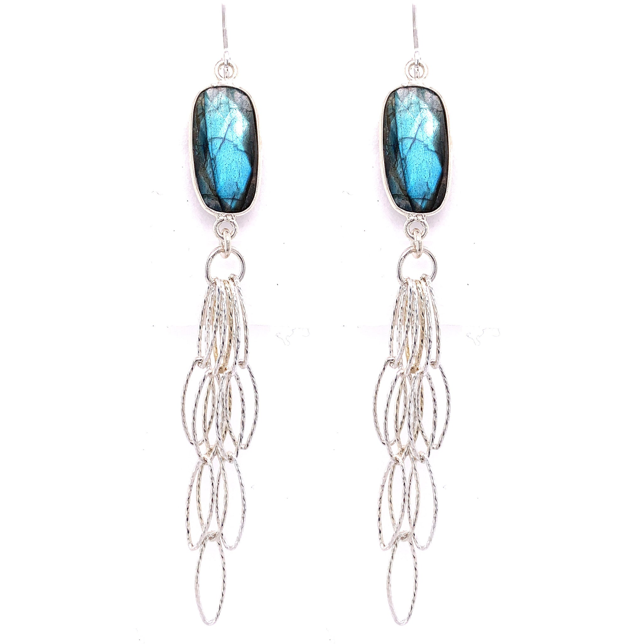 Labradorite Long & Sexy Silver Tassel Bottom Earrings