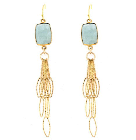 Aqua Blue Chalcedony Rectangle Tassel Bottom Earrings, Gold  Media 1 of 1 aquamarine sexy google pinterest
