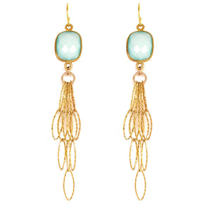 Aqua Blue Chalcedony Rectangle Tassel Bottom Earrings, Gold  google pinterest