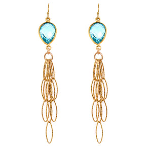 Beautiful Iolite Faceted Gemstone     Semi-Precious Gemstone Top     Earwire: French Hook 18kt Gold Vermeil (Sterling Silver)     Bottom Fringe: 5 Layered 18kt Gold Diamond Cut Italian Vermeil     Length Approx 3 Inch Drop turquoise iolite aqua blu quartz google pinterest facebook