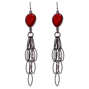 Garnet Quartz Tassel Earrings - Black