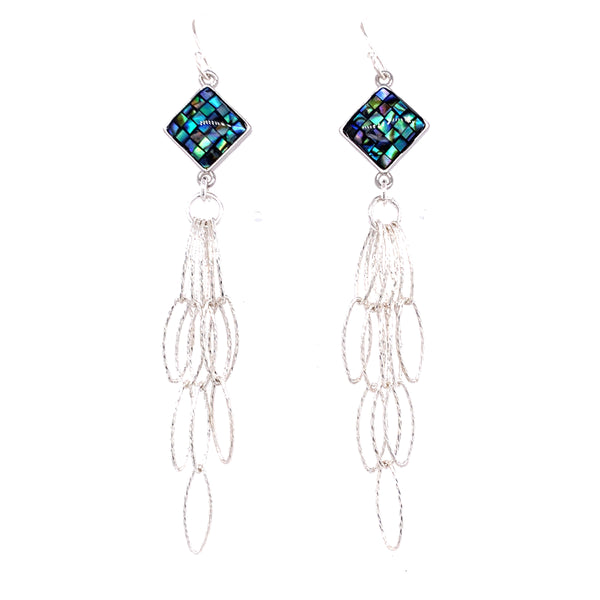 Abalone Navy Inlay Tassel Earrings - Gold