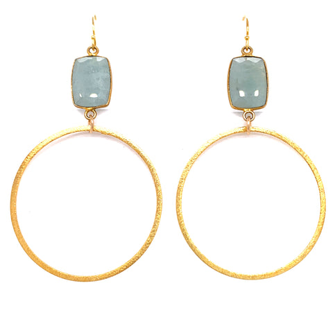 Semi-Precious Gemstone Top - AAA highly coveted Larimar only found in Dominican Republic Bottom Hoop: Gold Vermeil, Sterling Silver or Oxidized Sterling Length Approx 3.5-3.75 Inch Drop (40mm Bottom) blue quartz google facebook  gold