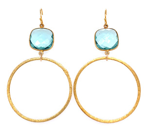 earring Aqua Blue Faceted Quartz Gold Large Hoop Bottom