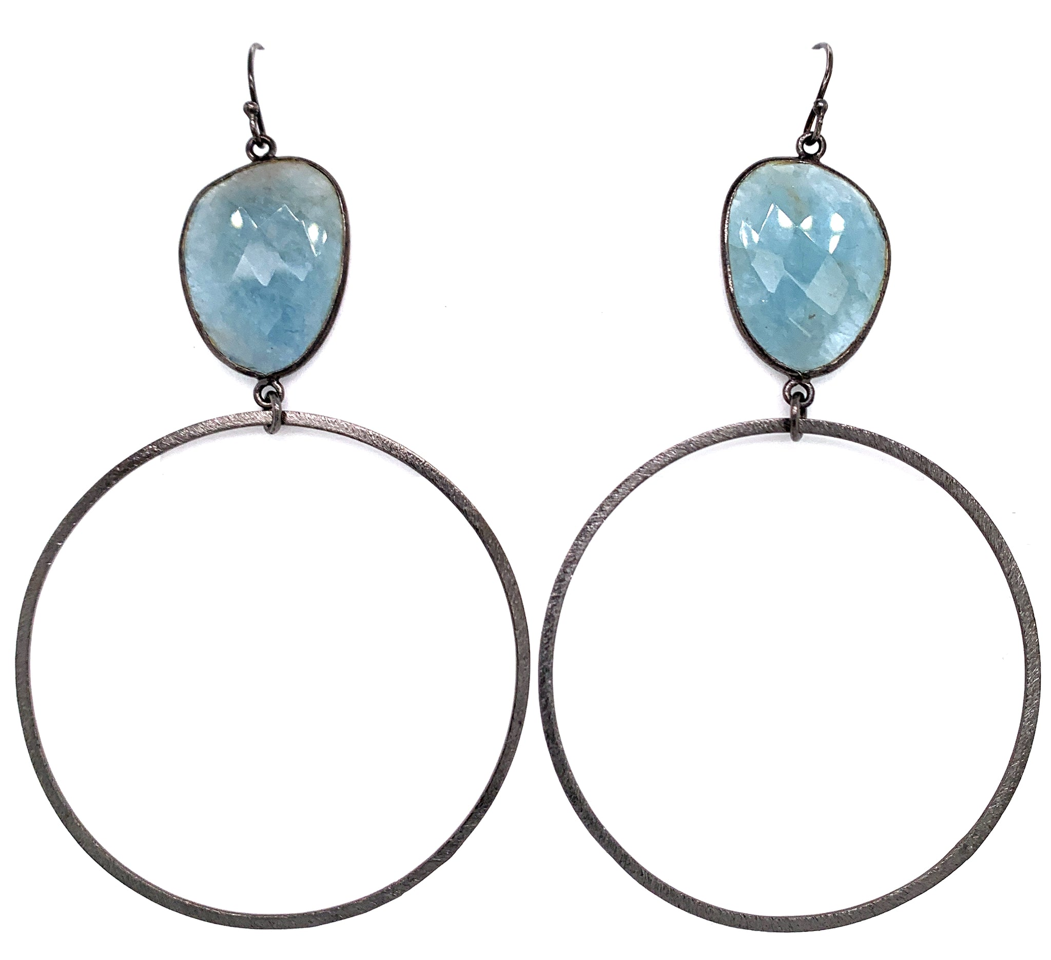 Semi-Precious Gemstone Top - AAA highly coveted Larimar only found in Dominican Republic Bottom Hoop: Gold Vermeil, Sterling Silver or Oxidized Sterling Length Approx 3.5-3.75 Inch Drop (40mm Bottom) blue quartz google facebook