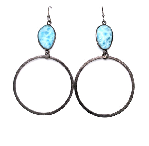 Semi-Precious Gemstone Top - AAA highly coveted Larimar only found in Dominican Republic Bottom Hoop: Gold Vermeil, Sterling Silver or Oxidized Sterling Length Approx 3.5-3.75 Inch Drop (40mm Bottom)