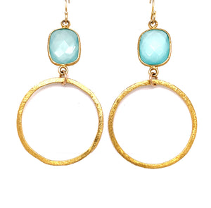 Chalcedony (Blue) Rectangle Gold Hoops