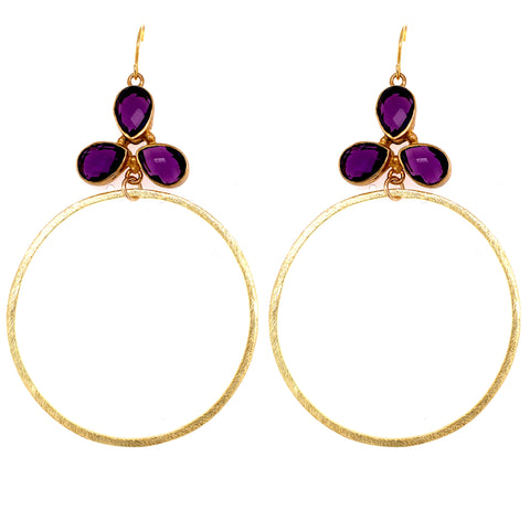 Amethyst Jumbo Sexy Faceted Gold Hoops