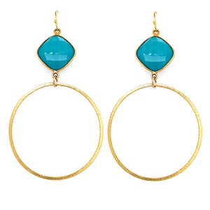 Turquoise Quartz Large Gold Hoops