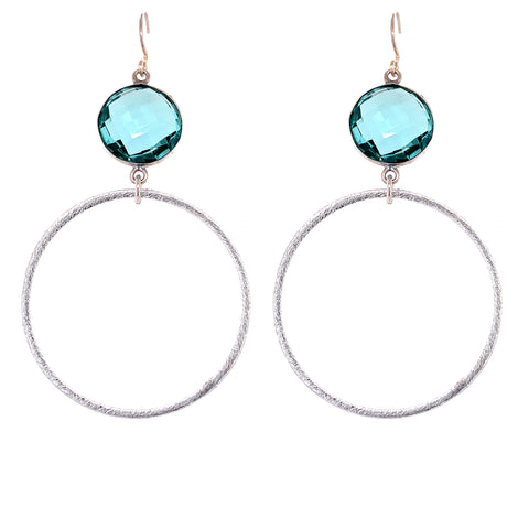 Crystal Clear Quartz Gold Hoop Bottom sexy hoops google pinterest facebook  aqua blue quartz
