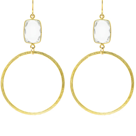 Crystal Clear Quartz Gold Hoop Bottom sexy hoops google pinterest facebook