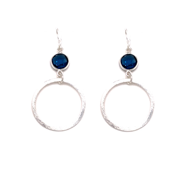 London Blue Faceted Quartz Silver Small Hoop Bottom