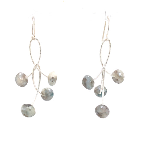 "White Sapphire Double ""Orbits"" Earrings, Silver"