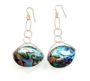 "Abalone ""Ga Ga"" Lovelier Earrings Gold and Silver"