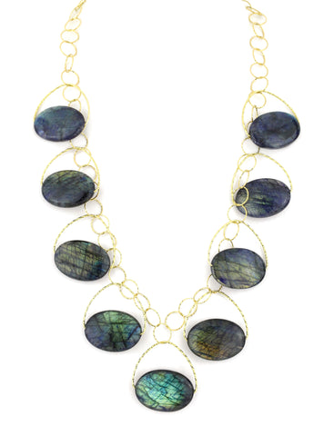 Navy Blue Labradorite Blossom Necklace
