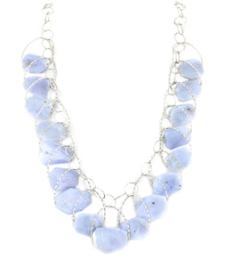 "Blue Lace Agate Multi Stone ""Stunner"" Necklace"