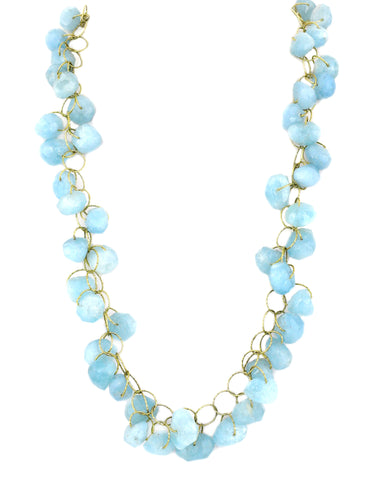 "Aquamarine ""Love"" Twister Necklace"