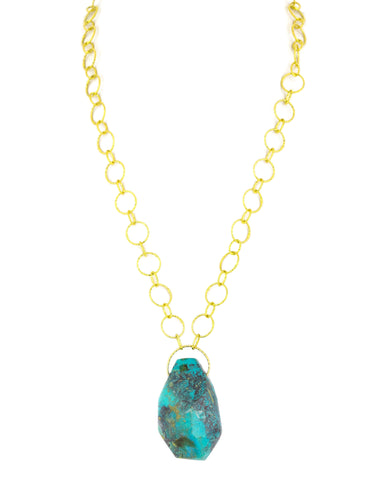 Chrysocolla Jumbo Teardrop Pendant Necklace