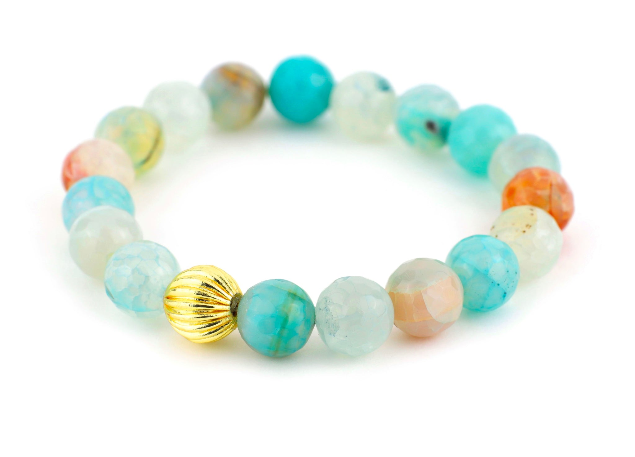 Blue Fire Agate Single Stranded Stone Bracelet