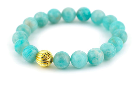 Brazilian Amazonite Single Stranded Stone Bracelet - Gold