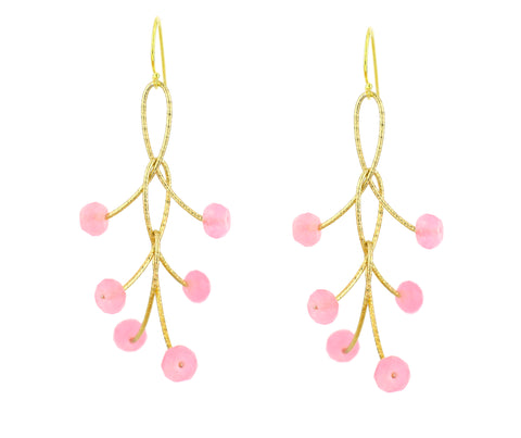 "Rose Quartz Triple ""Orbits"" Earrings"