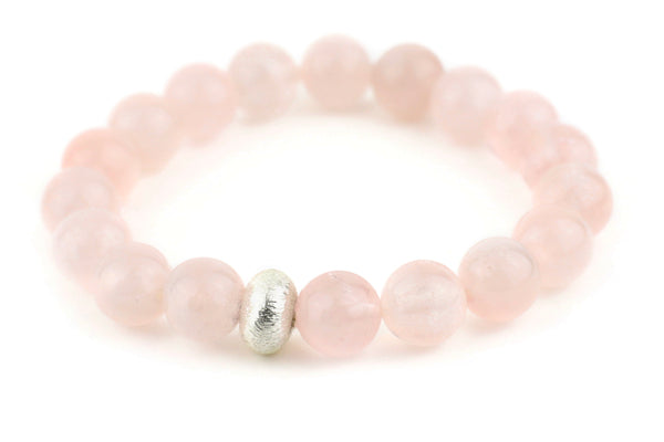 Rose Quartz Single Stranded Stone Bracelet - Gold