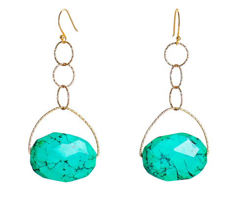 Turquoise Large Stone Lovelier Earrings