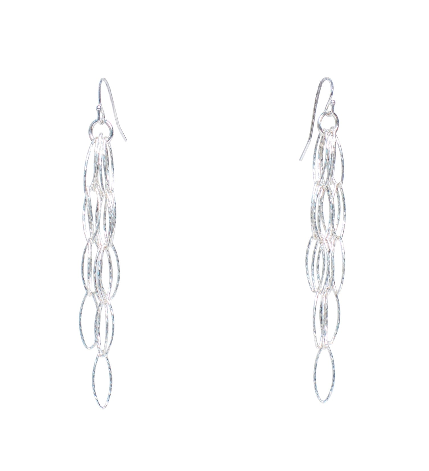 Silver Diamond Cut Dreamcatcher Fringe Tassel Earrings