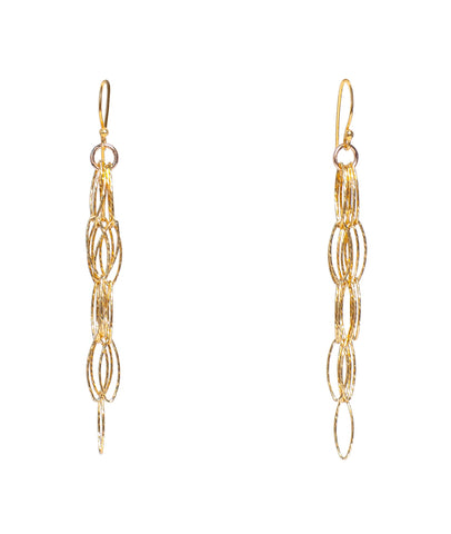 Dreamcatcher Fringe Tassel Gold Diamond Cut Vermeil Earrings