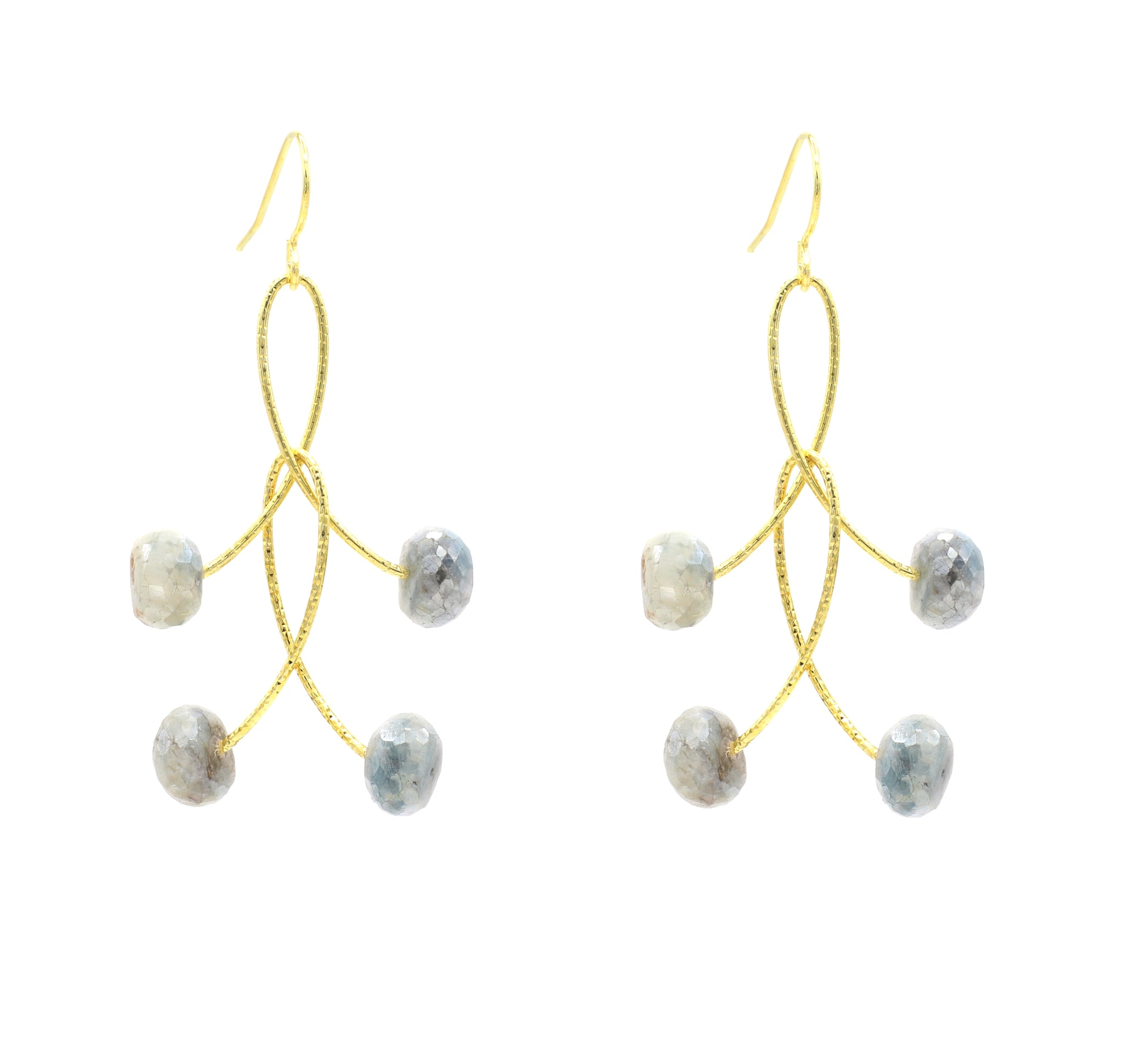 "White Sapphire Double ""Orbits"" Earrings, Gold"