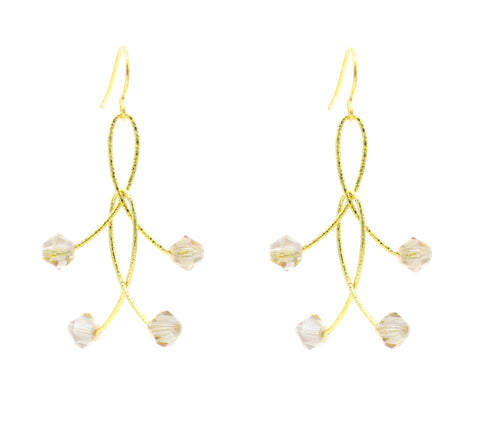 "Golden Mystic Crystal Double ""Orbits"" Earrings"