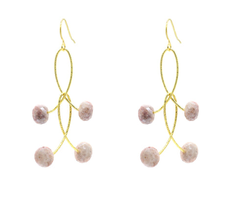 "Pink Mystic Moonstone Double ""Orbits"" Earrings"