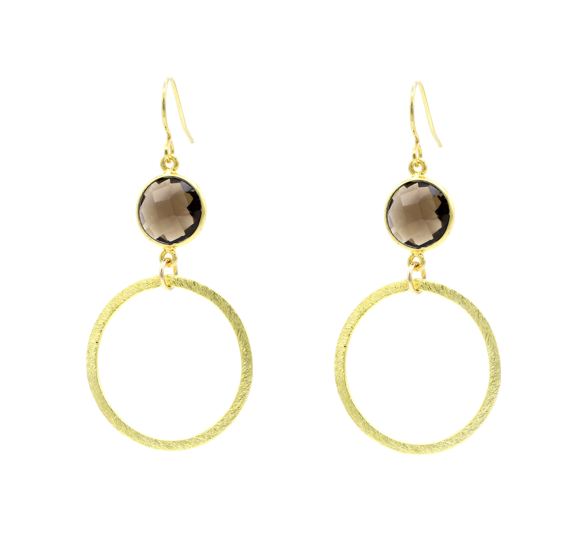 Smokey Quartz Gold Hoop Bottom