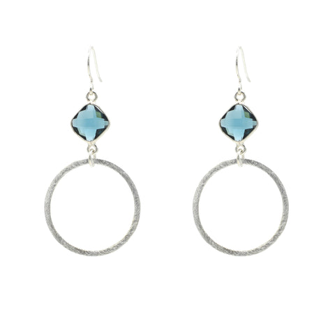 Blue Quartz Silver Hoop Bottom
