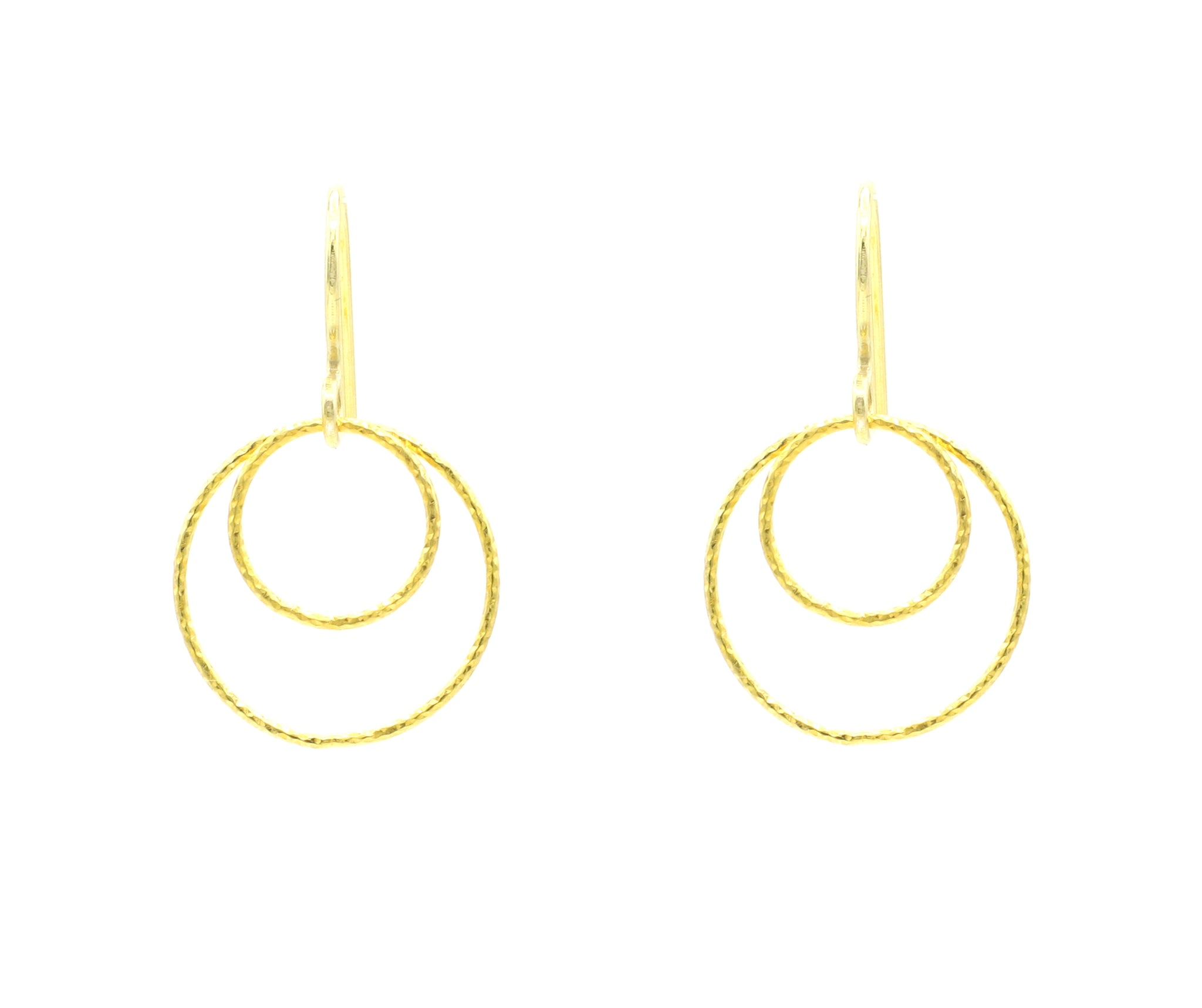 Gold Double Diamond Cut Small Circle Hoop Earrings