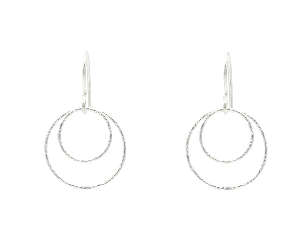 Silver Double Diamond Cut Small Circle Hoop Earrings